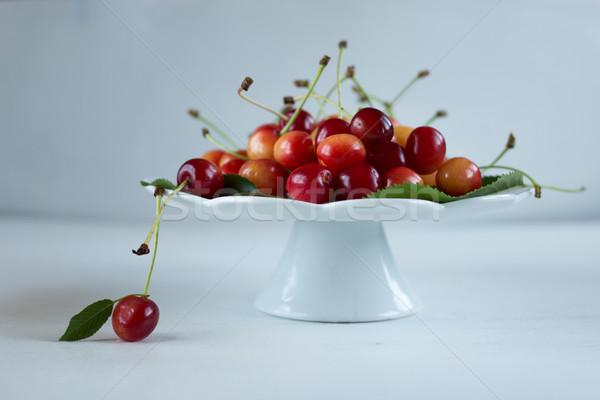 Organisch kersen vruchten tuin achtergrond zomer Stockfoto © laciatek