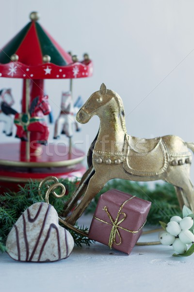 Christmas tijd achtergrond cake leven geschenk Stockfoto © laciatek