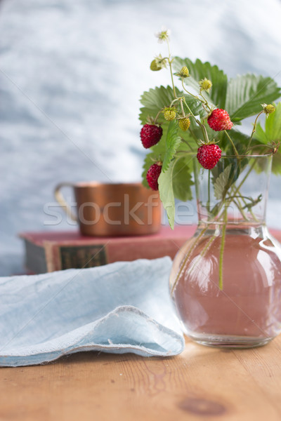woodland strawberry in a glas vase Stock photo © laciatek