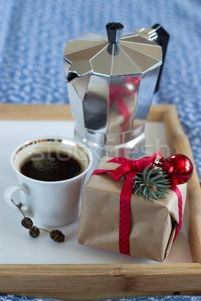 Kahve Noel hediye ahşap tepsi mavi Stok fotoğraf © laciatek