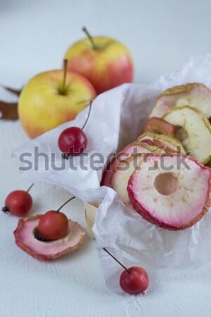 Stockfoto: Gedroogd · appels · voedsel · achtergrond · groep