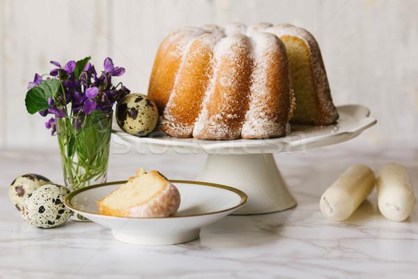 Paskalya lezzetli ekşi krema pound kek yumurta Stok fotoğraf © laciatek