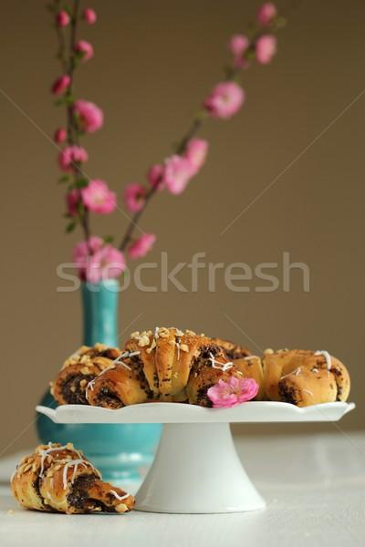 Croissants papoula sementes comida branco sobremesa Foto stock © laciatek