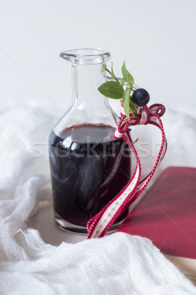 Myrtille jus verre bouteille alimentaire fruits Photo stock © laciatek