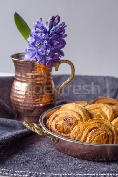 Cookies called cinnamon snails and hyacinth Stock photo © laciatek