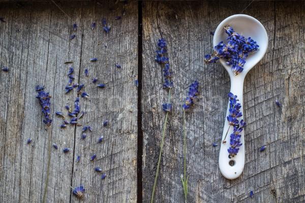 dried lavender flowers on ceramic spoon Stock photo © laciatek