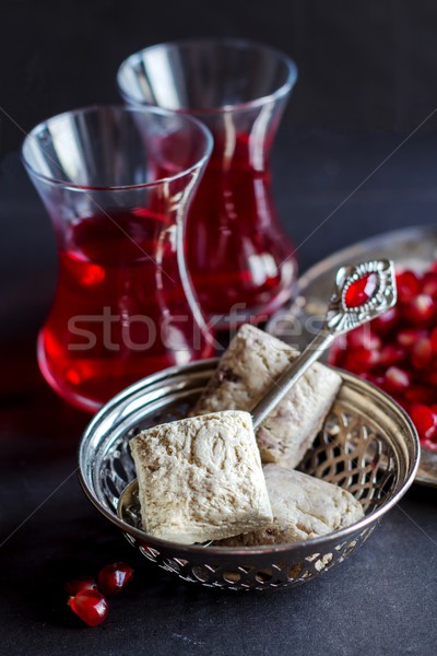 Török tea kicsi szemüveg étel piros Stock fotó © laciatek