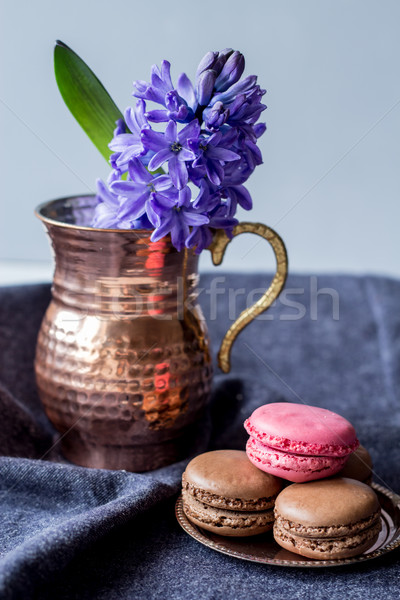 fresh hyacinth and delicious french macarons Stock photo © laciatek
