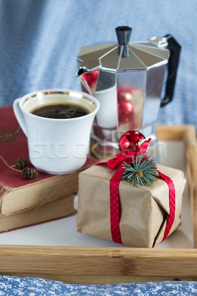 Natal tempo café dom velho livros Foto stock © laciatek