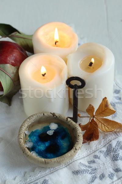 Cera tradizione candela sera previsioni mano Foto d'archivio © laciatek