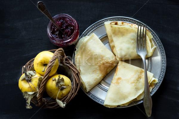 Francês congestionamento maçãs doce café da manhã Foto stock © laciatek