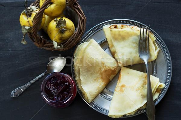 Francês congestionamento maçãs doce café da manhã comida Foto stock © laciatek