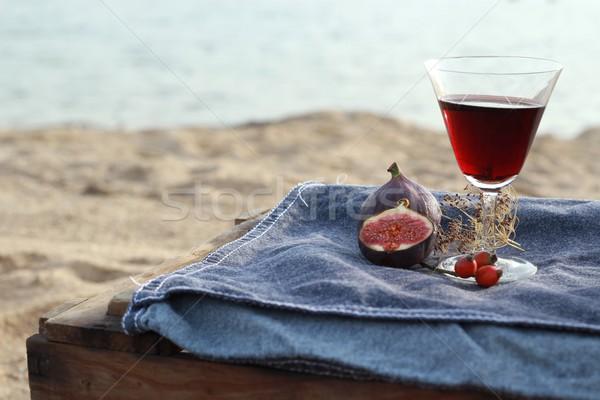 Stockfoto: Wijn · picknick · gras · landschap · zee · vak