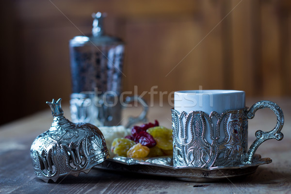 Turkish coffee, pişmaniye and sweetmeats Stock photo © laciatek