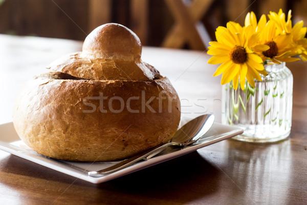 Zuur rogge soep brood witte traditioneel Stockfoto © laciatek