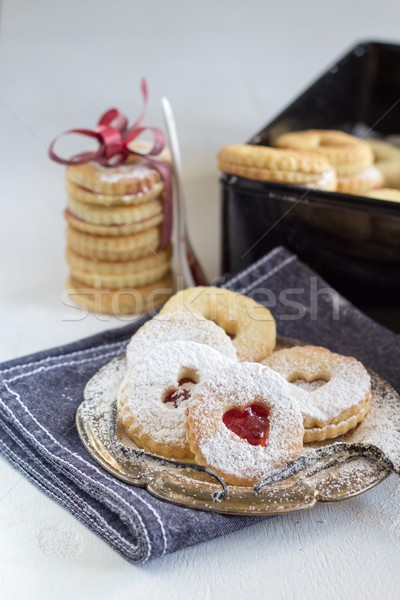 Tasty cookies called 'Linzer augen' - sweet gift  Stock photo © laciatek