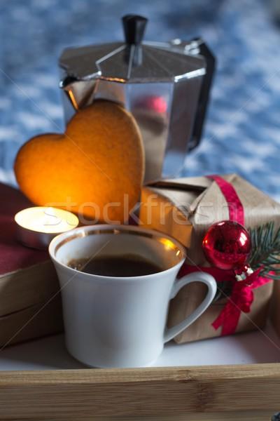 Geschenk liefde koffie retro christmas verrassing Stockfoto © laciatek
