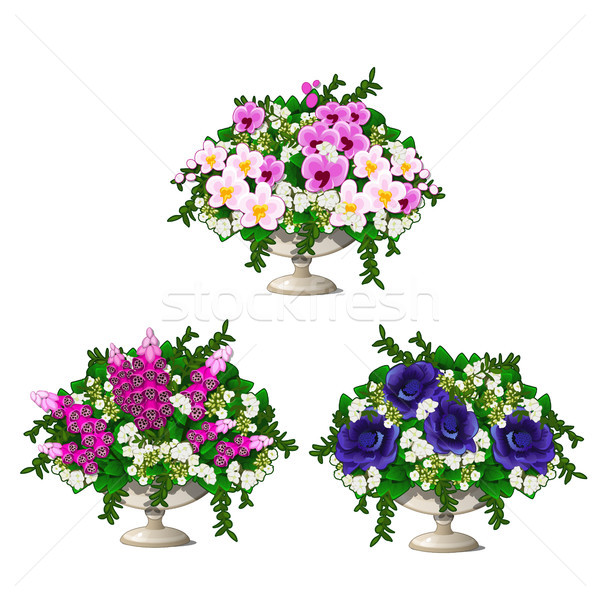 Set of vintage marble vase with flowers isolated on white background. Element of landscape design of Stock photo © Lady-Luck