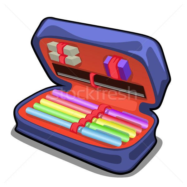 School pencil case with stationery set isolated on white background. Vector cartoon close-up illustr Stock photo © Lady-Luck