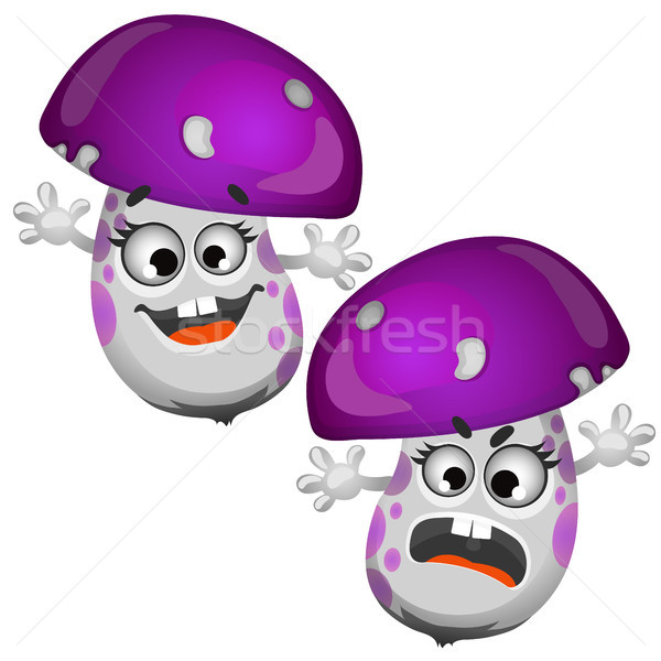 Set of funny laughing mushroom isolated on white background. Vector cartoon close-up illustration. Stock photo © Lady-Luck