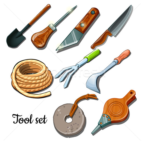 The universal set of tools and fixtures is isolated on a white background. Cartoon vector illustrati Stock photo © Lady-Luck