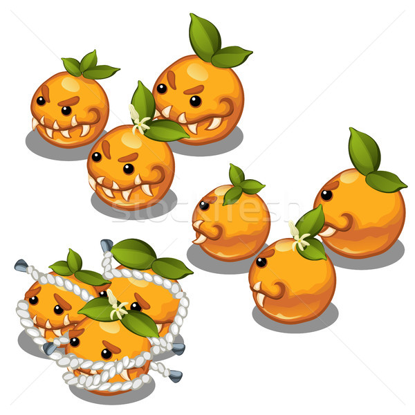 Trapped fancy monsters in the form of a scary toothy oranges isolated on a white background. Vector  Stock photo © Lady-Luck