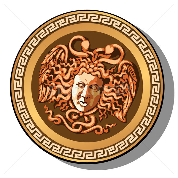 The engraved head of Medusa Gorgon head isolated on white background. Cartoon vector close-up illust Stock photo © Lady-Luck