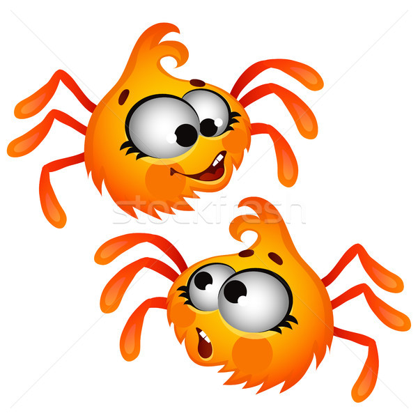 Set of funny laughing orange furry spider isolated on white background. Vector cartoon close-up illu Stock photo © Lady-Luck