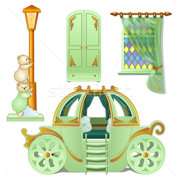 A set of furniture for a childs room is isolated on a white background. Vector illustration. Stock photo © Lady-Luck