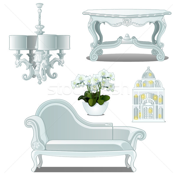 A set of furniture white color for vintage interior isolated on white background. Vector illustratio Stock photo © Lady-Luck