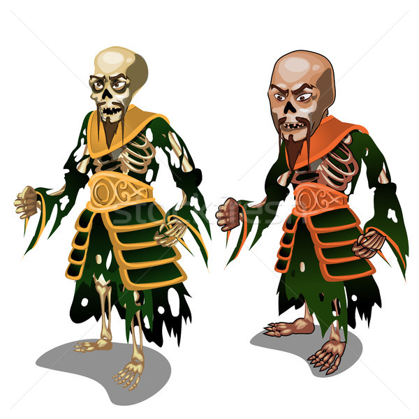 Set of zombie samurai isolated on white background. Vector cartoon close-up illustration. Stock photo © Lady-Luck