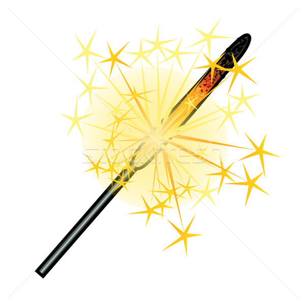 Burning sparkler isolated on white background. Sketch for greeting card, party invitation, festive p Stock photo © Lady-Luck