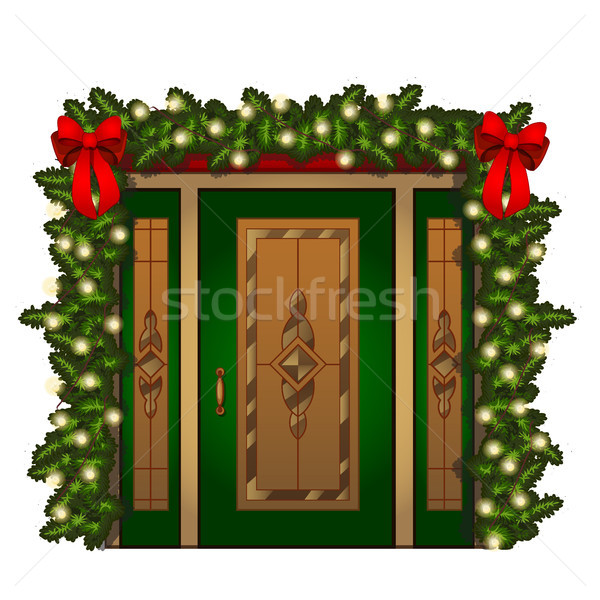Brightly decorated entrance door isolated on white background. Idea festive interior. Attributes of  Stock photo © Lady-Luck