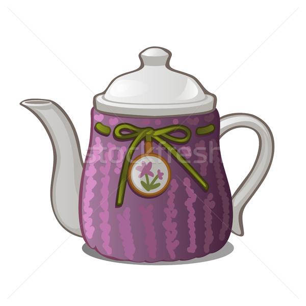 Púrpura cerámica tetera aislado blanco vector Foto stock © Lady-Luck