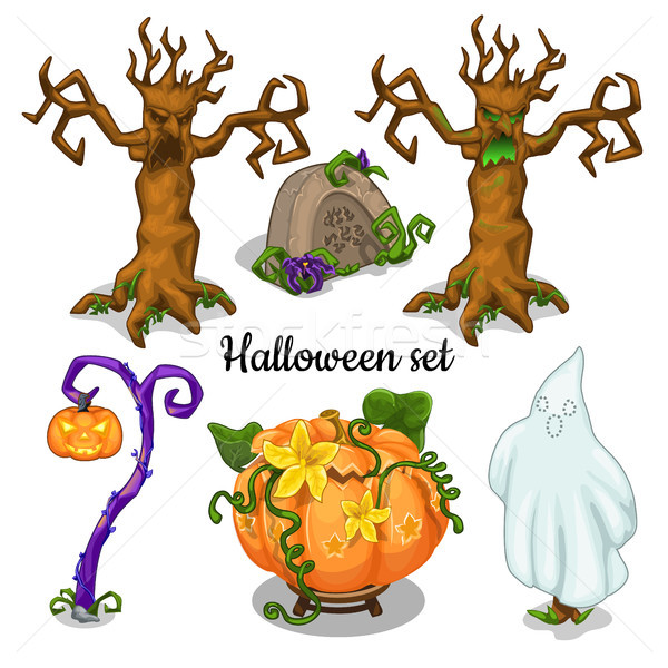 Set of elements for greeting cards, posters, party invitations Halloween. Vector illustration. Stock photo © Lady-Luck