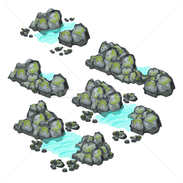 A set of grey boulders covered with silt isolated on white background. Vector illustration. Stock photo © Lady-Luck