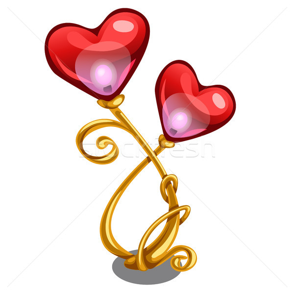 Decorative table lamp in the form of gold branches with red shades in the shape of a heart isolated  Stock photo © Lady-Luck