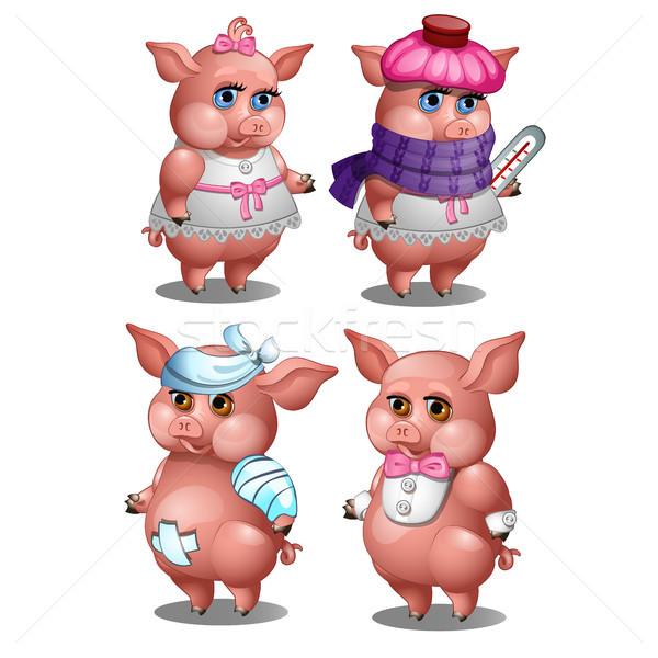 здорового свинья изолированный белый вектора Cartoon Сток-фото © Lady-Luck