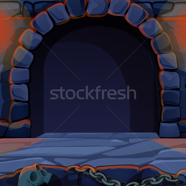 Archway in medieval castle. Vintage architecture. Vector cartoon close-up illustration. Stock photo © Lady-Luck