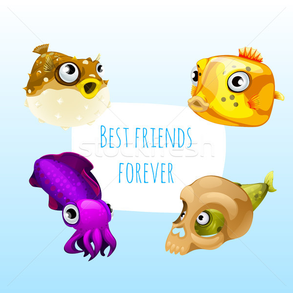 Funny poster with image of marine fishes with cute purple cuttlefish and the words best friends fore Stock photo © Lady-Luck