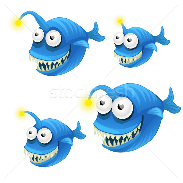 Set of cartoon fish isolated on white background. Vector cartoon close-up illustration. Stock photo © Lady-Luck