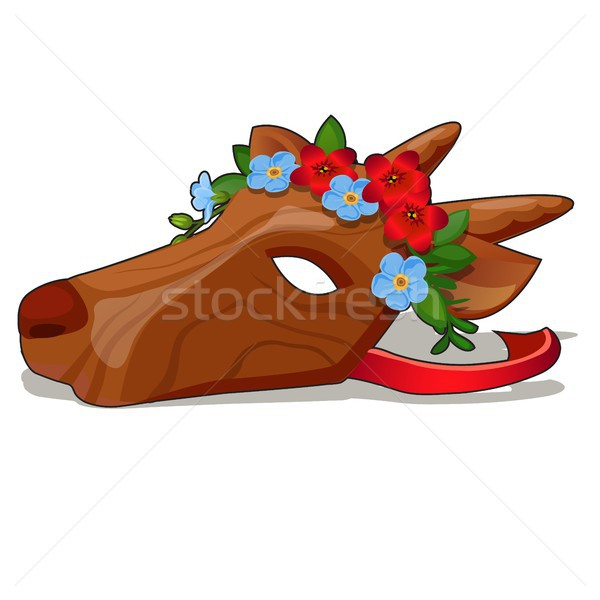 Wooden carnival mask with a face like a cow isolated on white background. Vector cartoon close-up il Stock photo © Lady-Luck