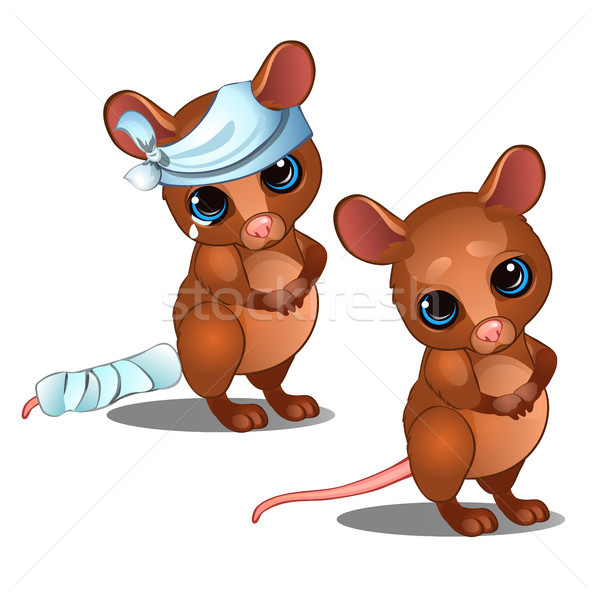 Healthy and diseased mouse isolated on white background. Vector cartoon close-up illustration. Stock photo © Lady-Luck