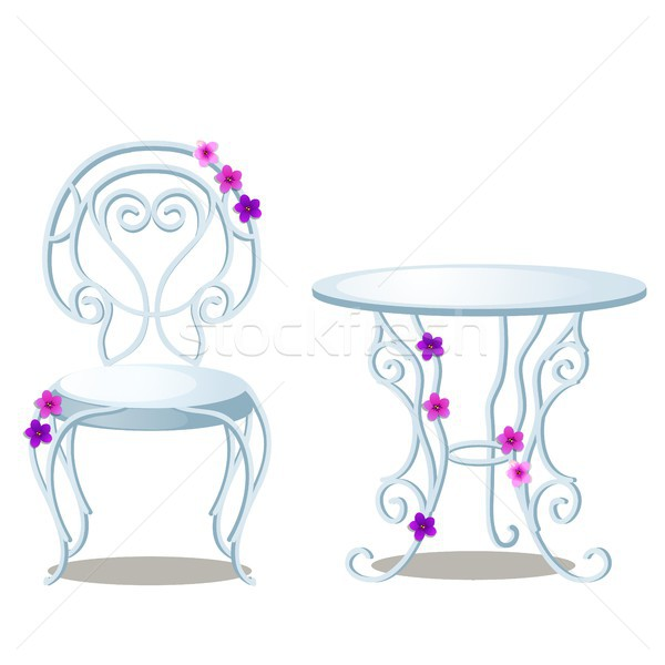 Elegant wrought-iron furniture made of glass and metal isolated on white background. Vector cartoon  Stock photo © Lady-Luck
