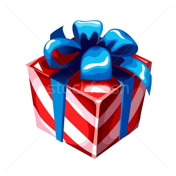 Hediye kutusu mavi şerit yay çizgili kâğıt Stok fotoğraf © Lady-Luck