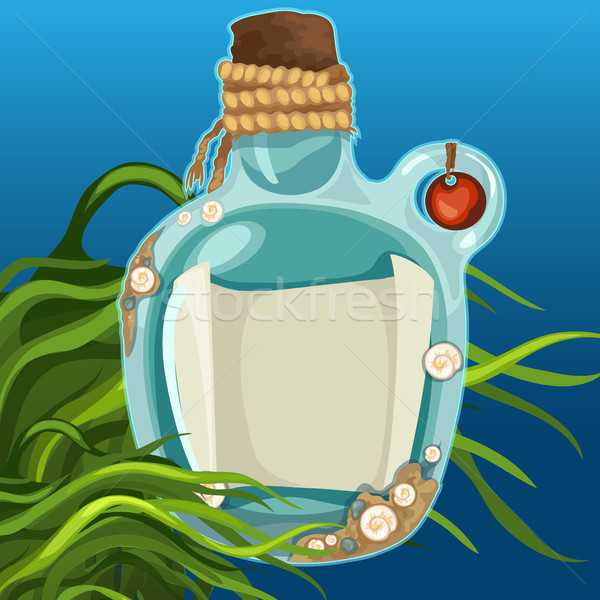 Blue bottles closed with cork on the seabed. Message in a bottle with space for your text. Vector il Stock photo © Lady-Luck