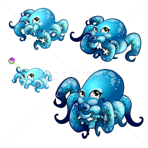 Set of stages of growth of animated octopus isolated on white background. Vector cartoon close-up il Stock photo © Lady-Luck