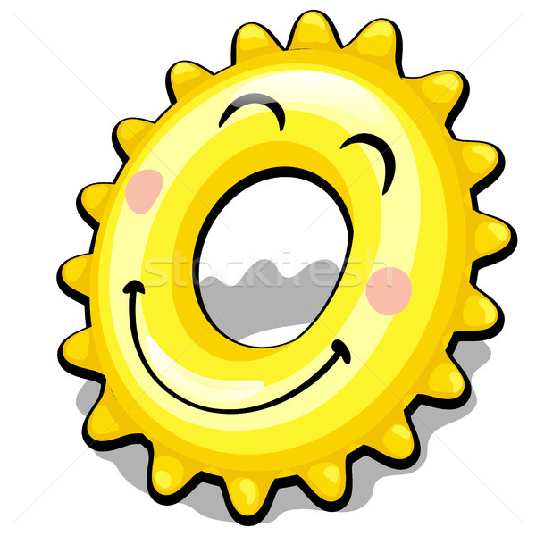 Rubber ring for swimming in the shape of a sun isolated on white background. Vector cartoon close-up Stock photo © Lady-Luck