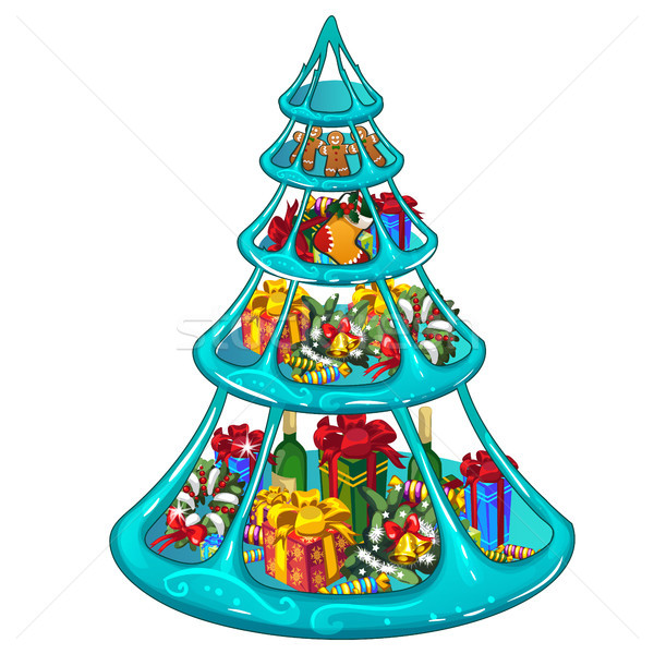 Tiered ice tray with Christmas gifts, sweets and decorations. Sketch for greeting card, festive post Stock photo © Lady-Luck