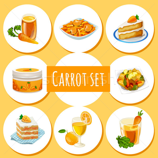 Set of wholesome organic natural foods made of carrots. Attribute of healthy eating fitness menu. Sk Stock photo © Lady-Luck